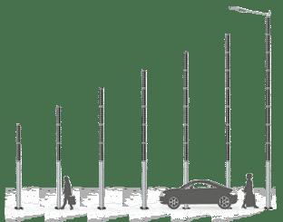 Soluxio - formato de la farola solar- altura del poste